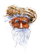 Old man head white beard Watercolor people portrait by Frits Ahlefeldt