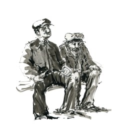 024-ink-sketch-two-old-men-sailors-sitting-at-bench-by-frits-ahlefeldt-fss1-hat-square