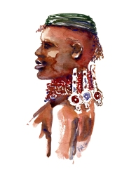 African man Watercolor people portrait by Frits Ahlefeldt