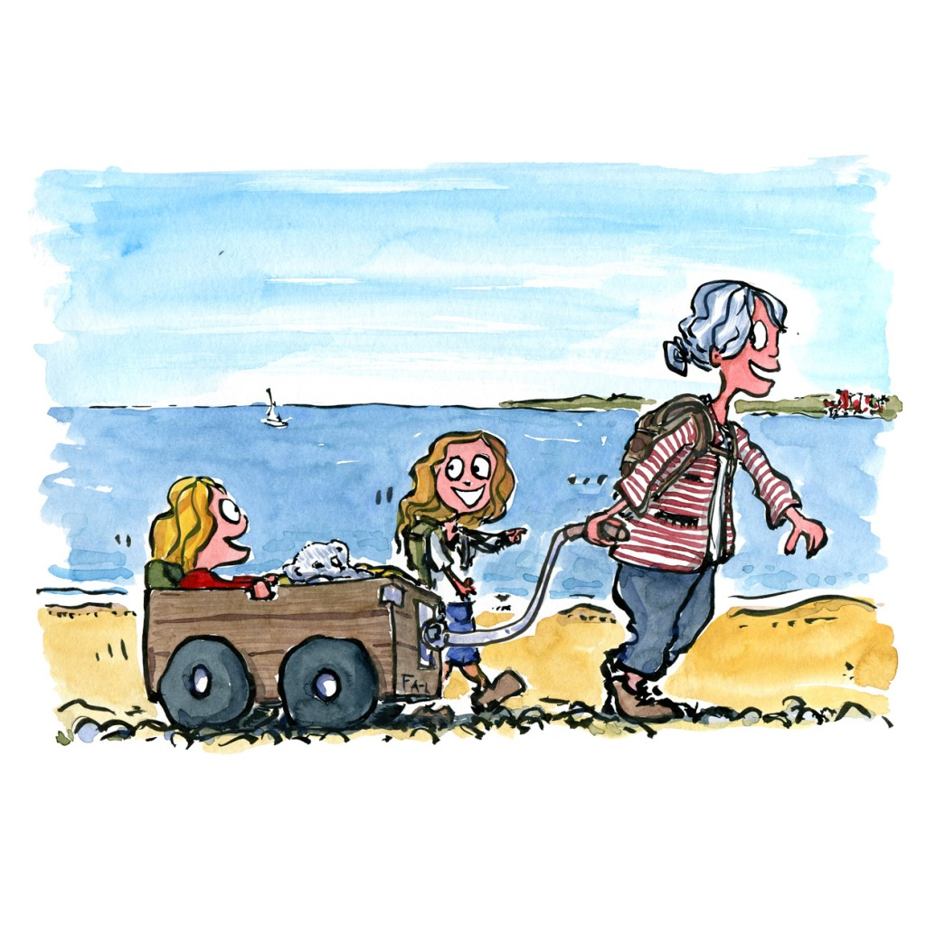 illustration of grandmother walking along the coast with two small girls in wagon. Drawing by Frits Ahlefeldt