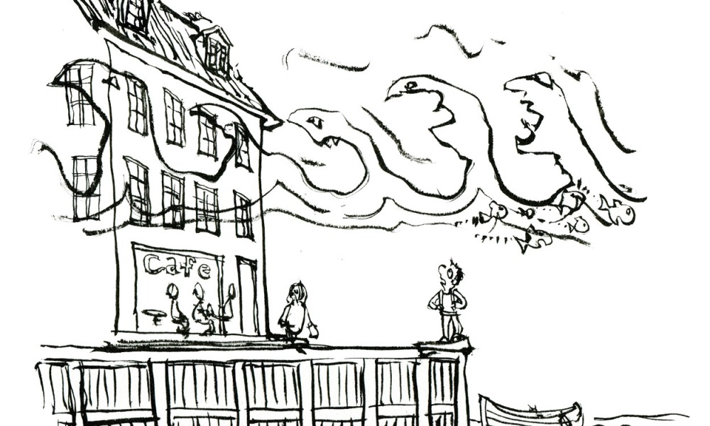 Drawing of a hiker in a harbor, with low water and high water above house. Drawing by Frits Ahlefeldt