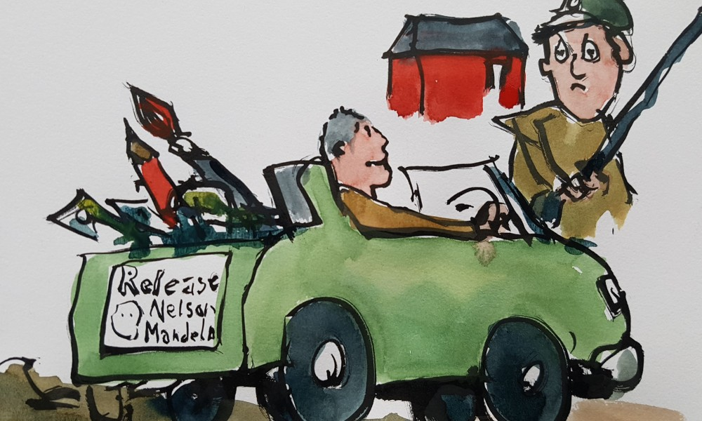 Frits Ahlefeldt sketch of a a young Zapiro back in the 1980's in his car entering the military area with a Release Nelson Mandela sticker on his car