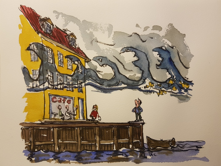 illustration of a harbor with cafe and waves of sea level rise high above. hiker watching. drawing by Frits Ahlefeldt
