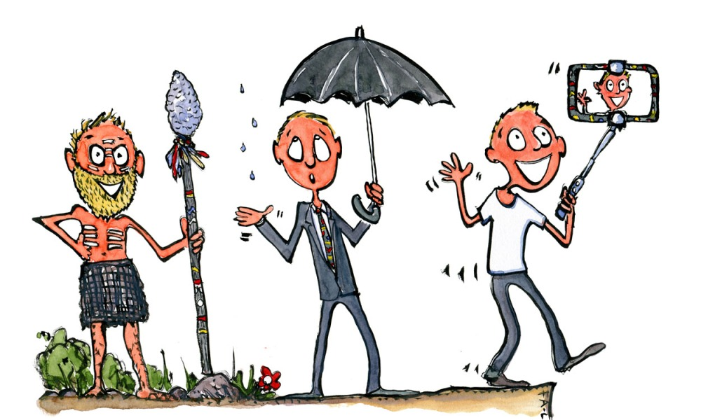 Drawing of a man with beard and spear, to a businessman with umbrella, to a selfie taking modern man. illustration by Frits Ahlefeldt