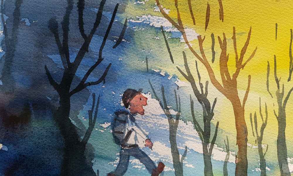 Watercolor of man with backpack walking from winter blue to sun between trees. Art by Frits Ahlefeldt