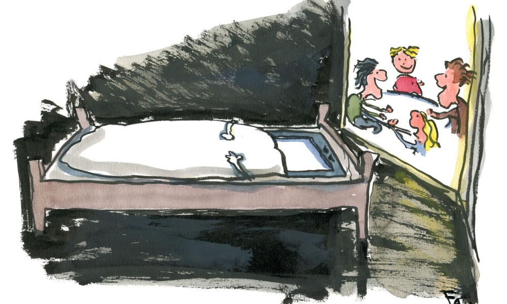 illustration of a phone sleeping in a bed. By Frits Ahlefeldt