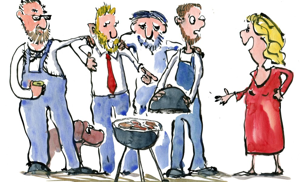 Group of similar looking men and women asking them questions about their barbecue. Drawing by Frits Ahlefeldt
