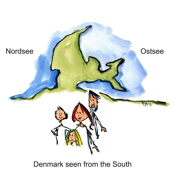 Denmark seen from afar Nordsee and ostsee. Drawing by Frits Ahlefeldt