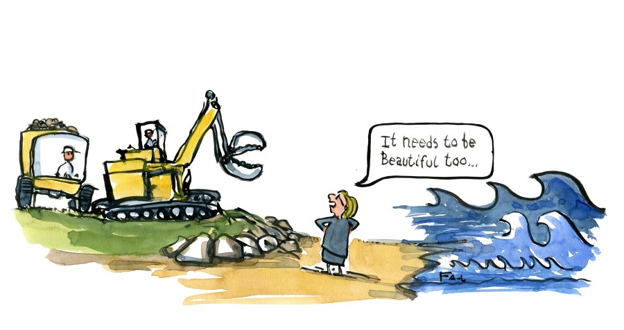 Woman on coast saying it needs to be beautiful too to building machine worker. Drawing by Frits Ahlefeldt