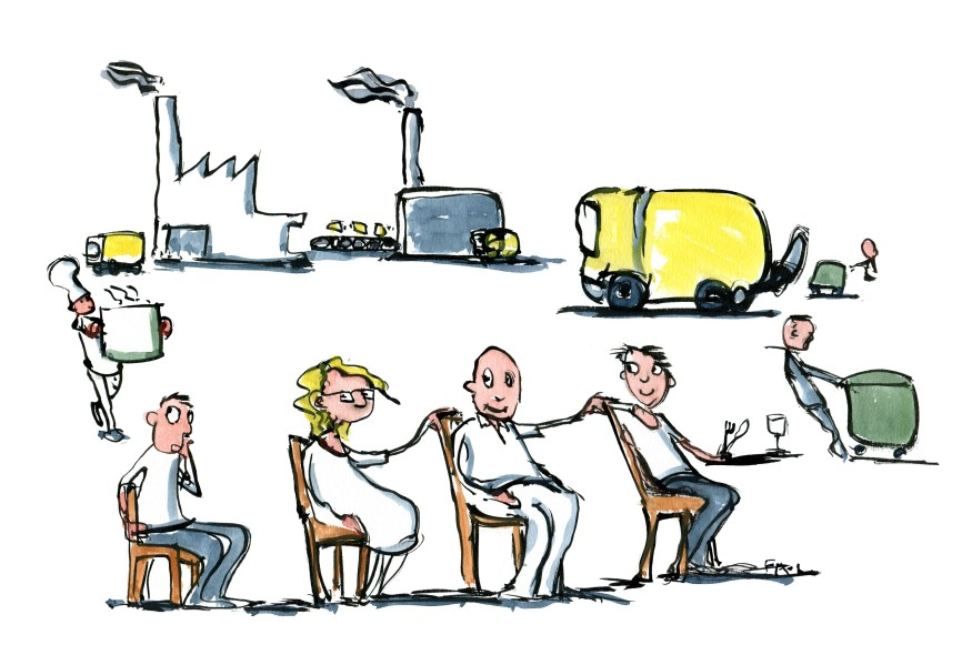 Circular economy - people sitting in circle example. Drawing by Frits Ahlefeldt