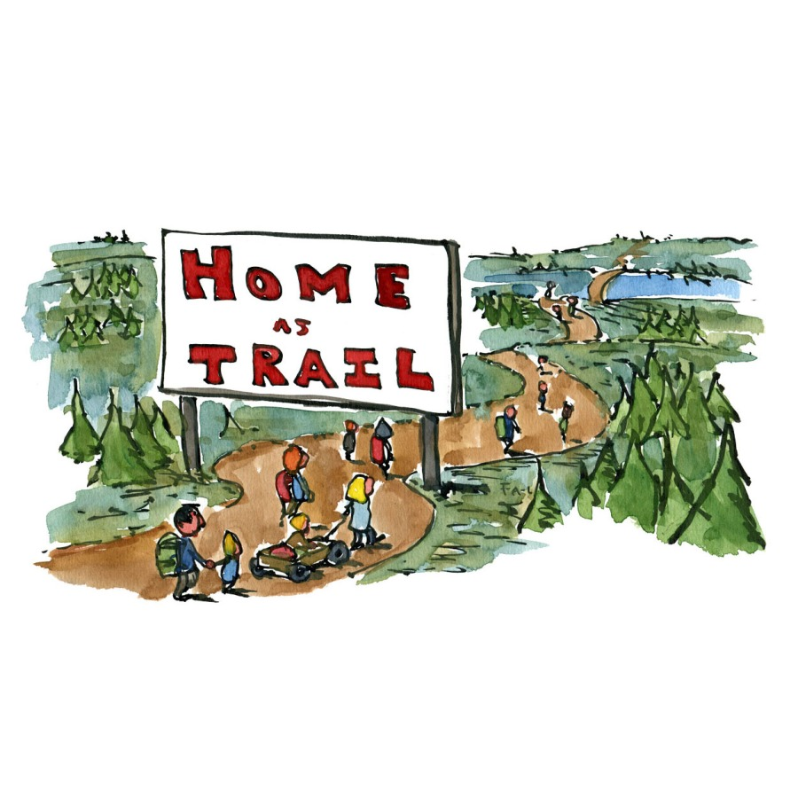 """illustration of people walking under a sign that writes """"home as trail"""" Drawing by"""