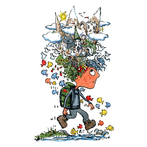 Hiker with landscapes on top of his head. illustration by Frits Ahlefeldt