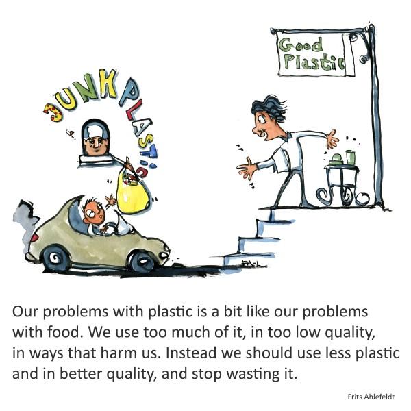 Drive in junk plastic vs. Good plastic. Drawing by Frits Ahlefeldt