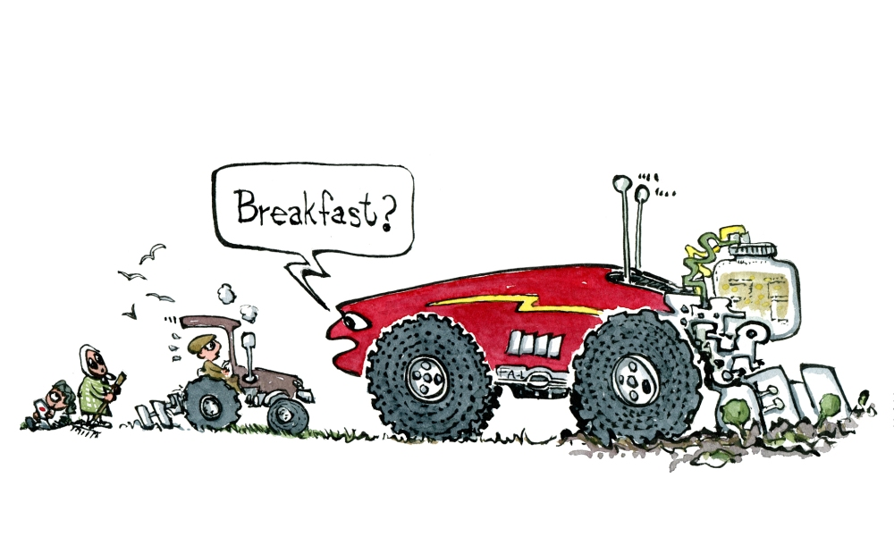 """Drawing of a huge self driving automatic, intelligent farming machine asking small traditional tractor """"breakfast?"""" Illustration by Frits ahlefeldt"""