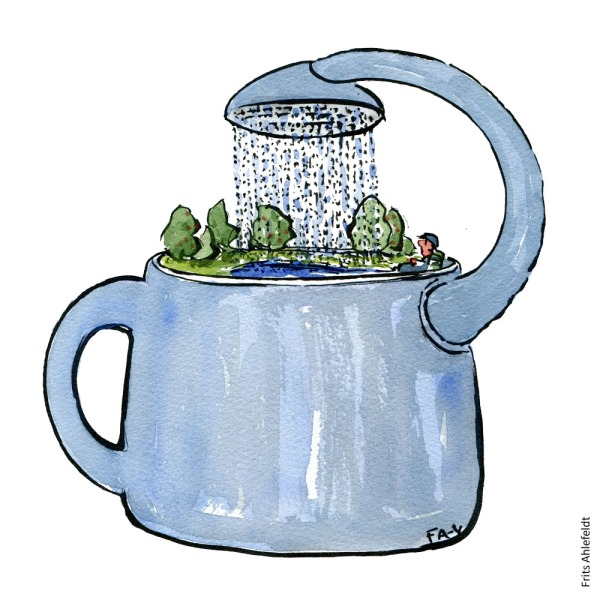Drawing of a water can with the tip turning back inwards over itself. Circular storytelling Illustration by Frits Ahlefeldt