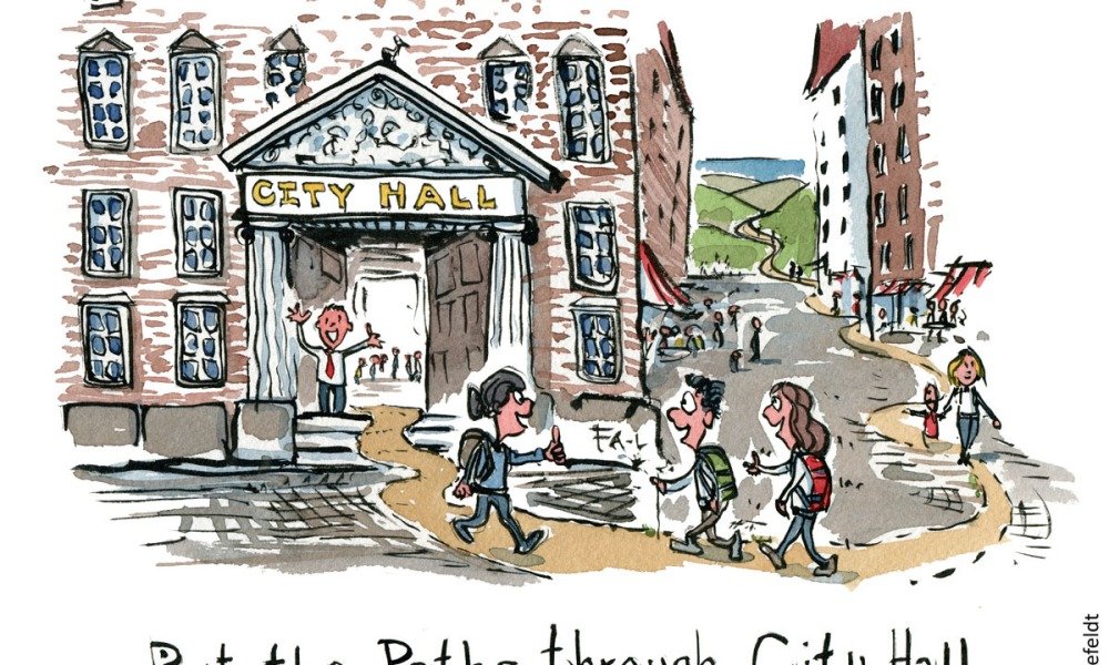 Illustration of hikers on a trail going right in through city hall in town. Hiking cartoon and drawing by Frits Ahlefeldt