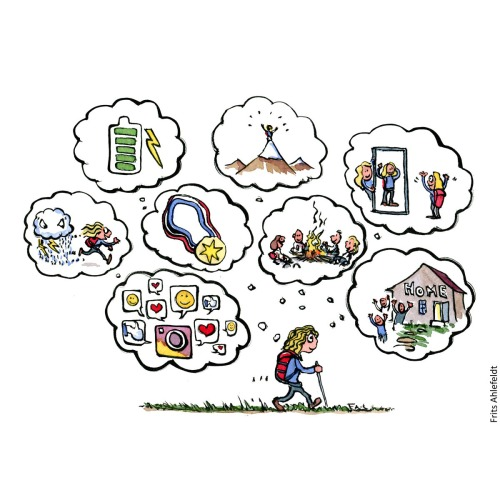 Illustration of a hiker changing thoughts while hiking. Hiking cartoon and drawing by Frits Ahlefeldt