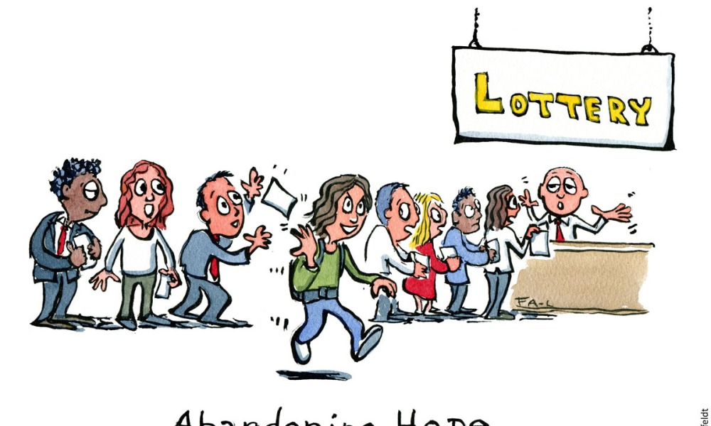 """Cartoon: Hiker leaving the lottery cue. With text: """"Abandoning hope"""". Hiking cartoon and drawing by Frits Ahlefeldt"""