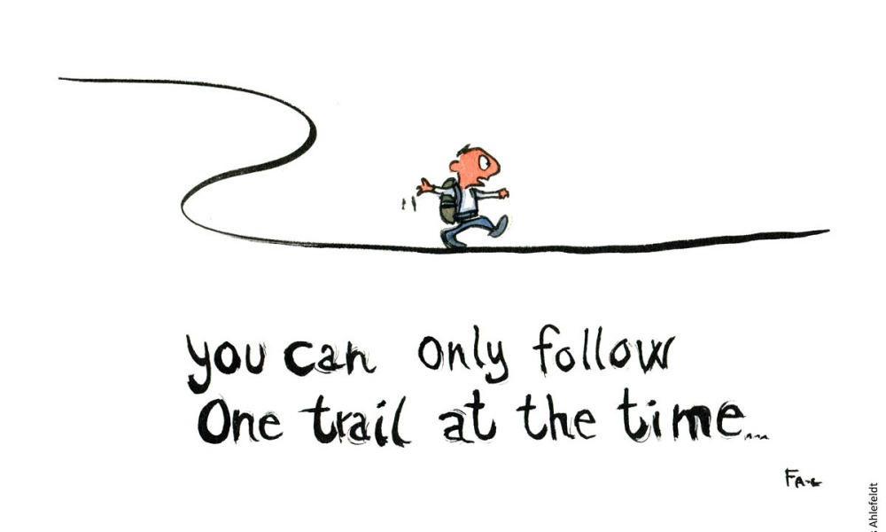"""Man - Hiker on a line and text: """"You can only follow one trail at the time"""" Hiking cartoon and drawing by Frits Ahlefeldt"""